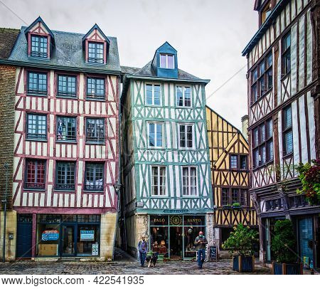 Rouen, France, Oct 2020, Place Du Lieutenant Auber A Cobblestoned Square With Medieval Half-timbered