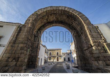Roman Arch Of Trajan, Monumental Access Gateway To Ancient Emerita Augusta, Merida, Spain. Panoramic