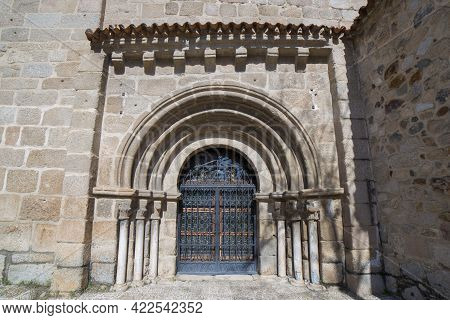 Romanesque Doorway Of Santa Eulalia Basilica In Merida. A Showcase Of The Town Twenty Centuries Of H