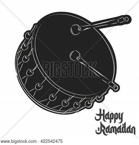 Isolated Drum Ramadan Kareem Draw Black Muslim Holy Vector Illustration