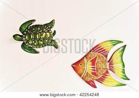 Texture turtle and fish