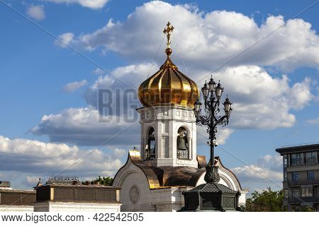Detached Bell Tower Next To The Cathedral Of Christ The Savior In Moscow.