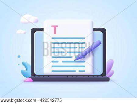 Editable Online Document Concept.  Creative Writing, Storytelling, Copywriting, Online Education. 3d