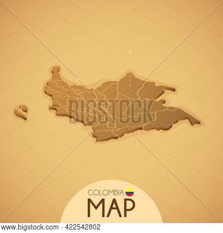 Country Colombia Map Old Style Geography Vector Illustrator