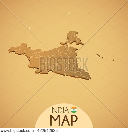 Country India Map Old Style Geography Vector Illustrator