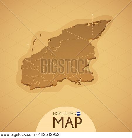 Country Honduras Map Old Style Geography Vector Illustrator