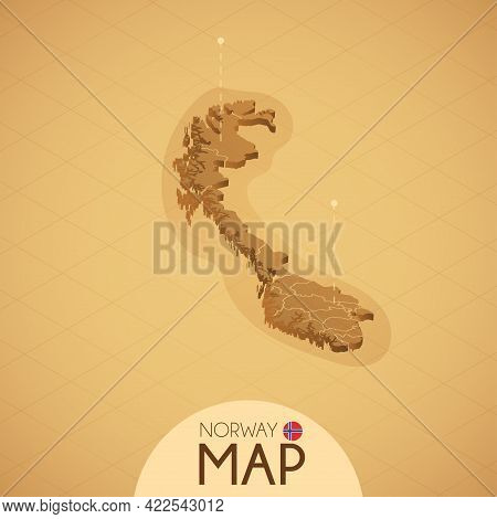 Country Norway Map Old Style Geography Vector Illustrator