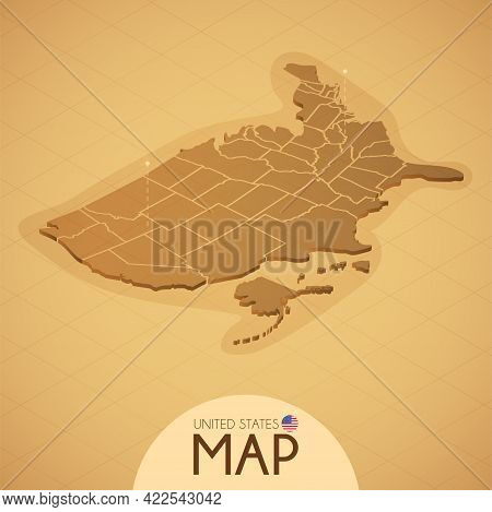 Country Usa Map Old Style Geography Vector Illustrator