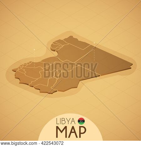Country Libya Map Old Style Geography Vector Illustrator
