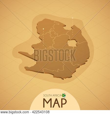 Country South Africa Map Old Style Geography Vector Illustrator
