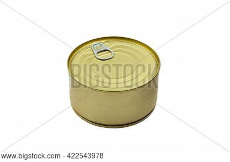 High Angle View Of Metal Food Can Isolated On White. Canned Food