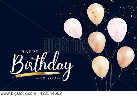 Happy Birthday Congratulations Banner Design With Confett And Glossy Glitter Ribbon For Party Holida