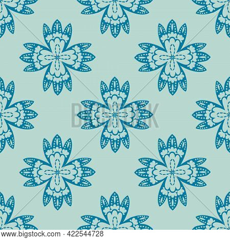 Stylized Lacy Floral Four Pointed Shape Motif Nature Inspired Bloom With Geometric Execution In Fres