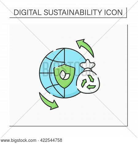 Sustainable Lifestyles Color Icon. Thinking About The World, Life Processes. Overthinking. Reducing