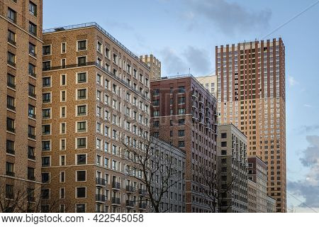 Residential Skyscrapers With Apartments. Modern Construction Of Multi-storey Residential Buildings.