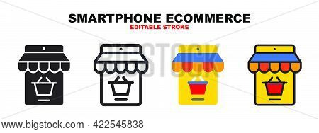 Smartphone Ecommerce Icon Set With Different Styles. Colored Vector Icons Designed In Filled, Outlin