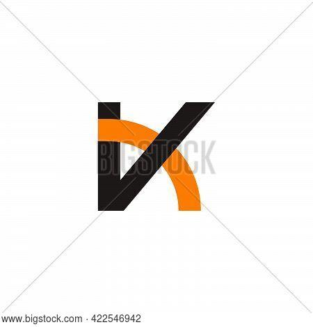 Letter Vk Overlapping Line Geometric Colorful Logo Vector