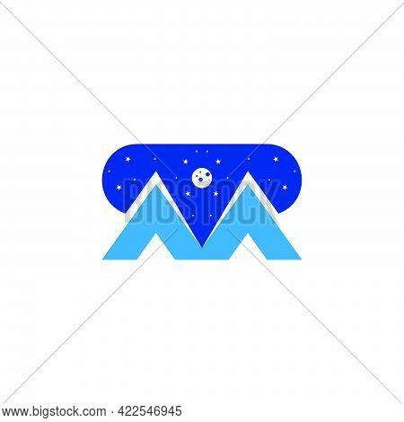 Letter M Mountain Night Sky Symbol Logo Vector