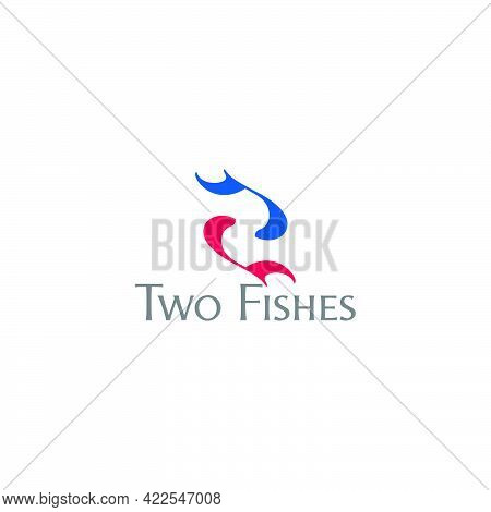 Colorful Two Fishes Swim Symbol Logo Vector