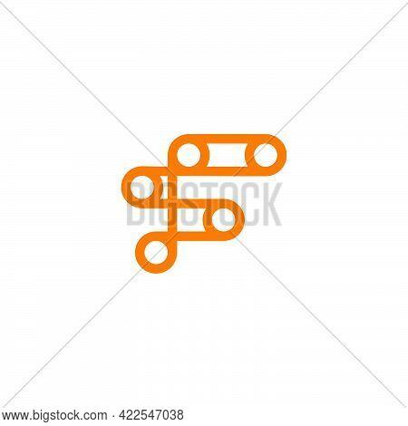 Abstract Letter F Wheel Machine Symbol Logo Vector