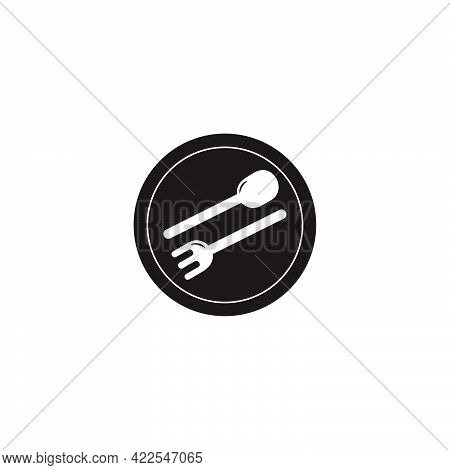 Spoon Fork Plate Negative Space Simple Logo Vector