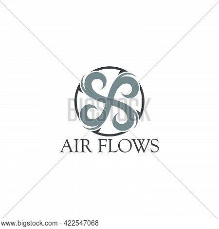 Round Arrows Motion Air Flows Logo Vector