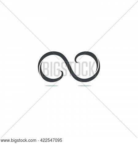 Infinity Waves Ribbon Curves Geometric Design Logo Vector