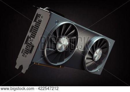 Graphics card. Modern gaming  GPU graphics processing unit on black. 3d illustration