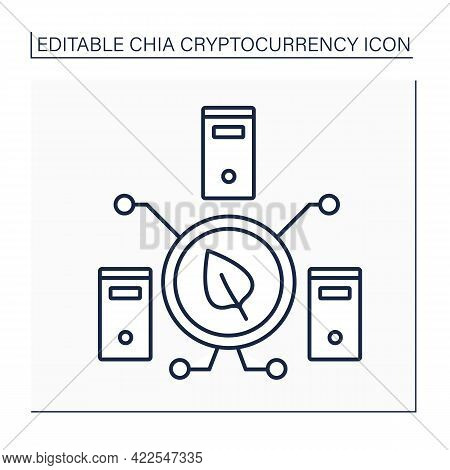 Chia Harvester Line Icon. Harvesting Plots. Getting Proof Of Space And Time. Digital Money Concept.i