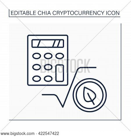 Chia Calculators Line Icon. Calculating Probable Earnings In Chia Cryptocurrency. Digital Money Conc