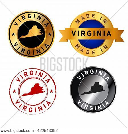 Virginia Badges Gold Stamp Rubber Band Circle With Map Shape Of Country States America