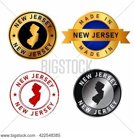 New Jersey Badges Gold Stamp Rubber Band Circle With Map Shape Of Country States America