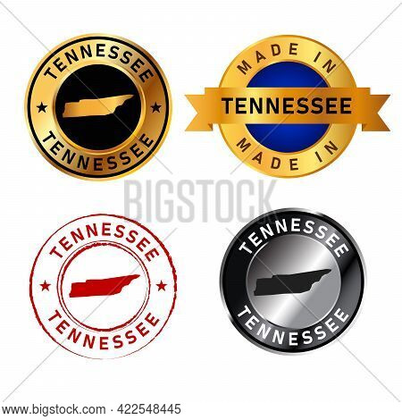Tennessee Badges Gold Stamp Rubber Band Circle With Map Shape Of Country States America