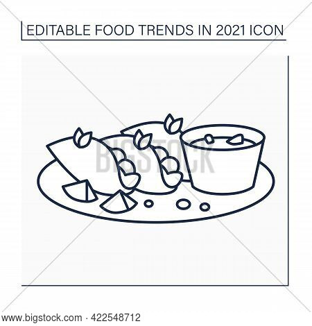 Birria Line Icon. Mexican Dish. Tacos Made With Tender And Flavorful Birria Beef.food Trends Concept