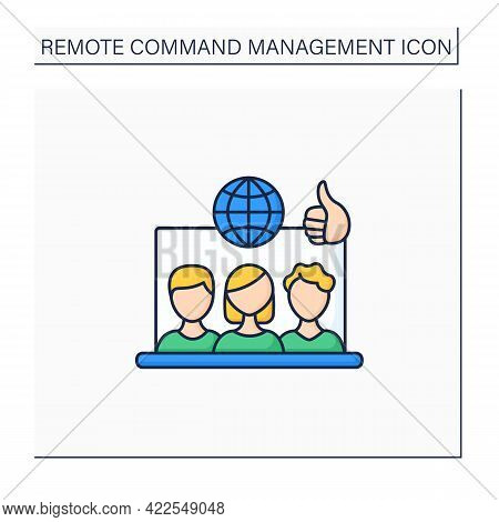 Remote Working Culture Color Icon. Connection Co-workers Experience. Similar Priorities, Interests.