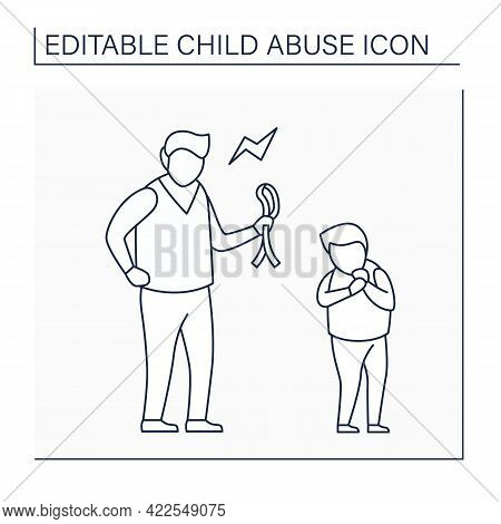 Physical Abuse Line Icon. Physical Harm, Injury. Aggressive Punishment To Discipline. Serious Emotio