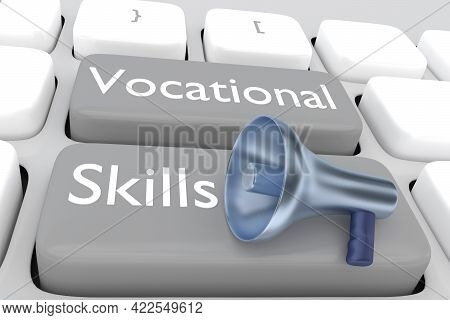 3d Illustration Of A Megaphone Placed On Computer Keyboard With The Script Vocational Skills
