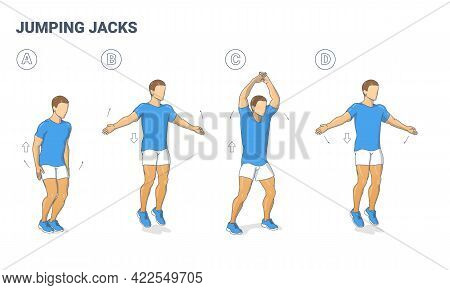 Guy Doing Jumping Jacks Home Workout Exercise Diagram. Athletic Man Star Jumps Fitness Illustration.