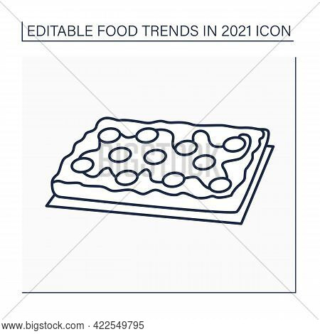 Pizza Line Icon. Detroit Style Pizza. Fast Food. Rectangular Pizza With Thick Crust.food Trends Conc