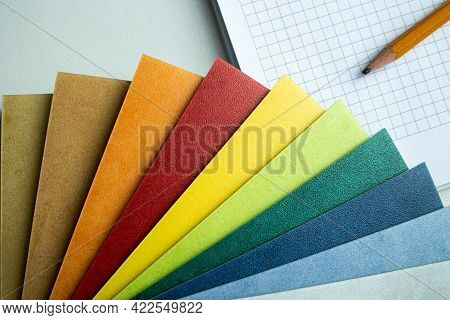 Choice Of Flooring. Samples Of Linoleum In Different Colors. Chopped Linoleum Into Pieces. Swatch Wi