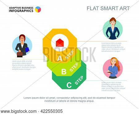 Three Octagon Step Chart Template. Editable Infographic Design For Process Diagram. Creative Concept