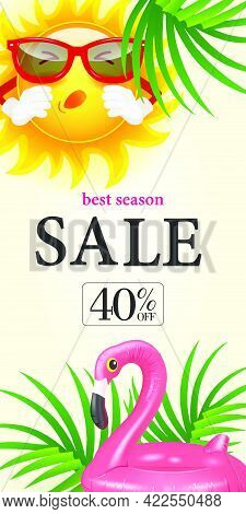 Best Season Sale Forty Percent Off Lettering. Shopping Inscription With Tropical Leaves, Sneezing Su