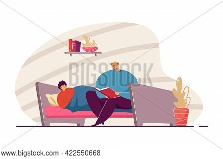 Grandfather Reading Bedtime Story To Grandson. Old Man Sitting On Bed With Book, Child Listening To