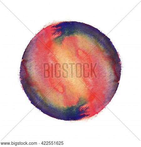 Bright Red And Blue Symmetric Watercolor Circle. Isolated On White Image.