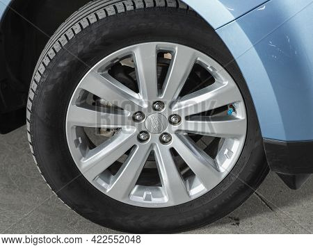 Novosibirsk, Russia - May 29, 2021: Subaru Forester, Close-up Car Wheel With Aluminum Alloy Wheel An