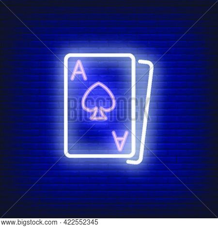 Blackjack Cards Neon Sign Element. Gambling Concept For Night Bright Advertisement. Vector Illustrat