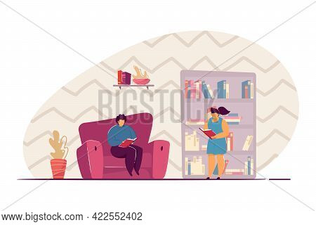 Kids Picking Books From Bookcase. Boy Reading Book In Armchair, Home Library Flat Vector Illustratio