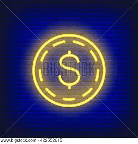 Dollar Coin On Brick Background. Neon Style Illustration. Money, Cash, Wealth. Currency Banner. For