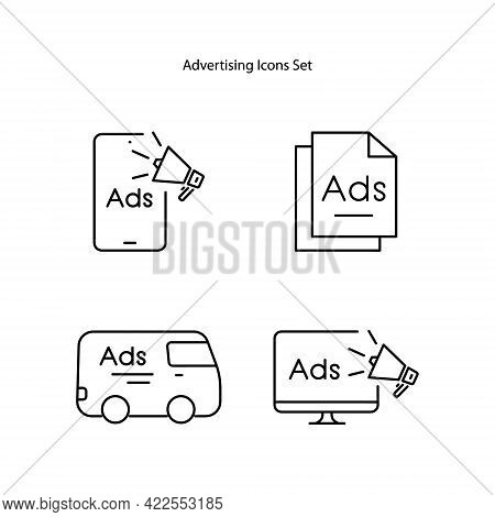 Advertising Icons Set Isolated On White Backgroundn. Advertising Icon Thin Line Outline Linear Adver