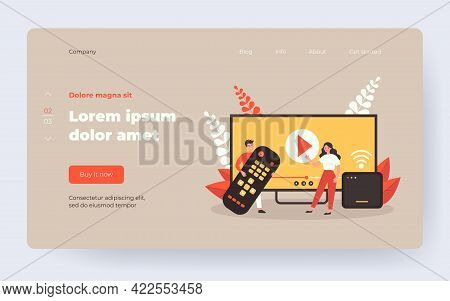 Happy People Using Remote Control And Smart Tv Box For Watching Video. Media Player Interface On Hug